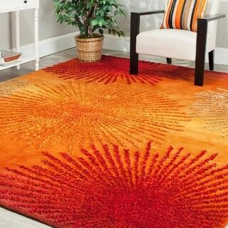 Safavieh Handmade Soho Burst Rust New Zealand Wool Rug - 6' x 6' Square