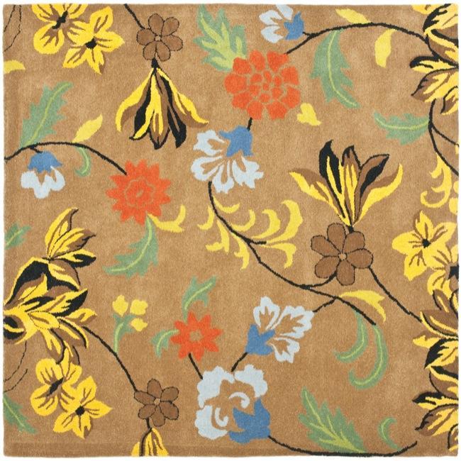 Safavieh Handmade Soho Brown New Zealand Wool Floral Rug (6' Square)