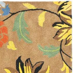 Safavieh Handmade Soho Brown New Zealand Wool Floral Rug (6' Square) - Thumbnail 1