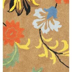 Safavieh Handmade Soho Brown New Zealand Wool Floral Rug (6' Square) - Thumbnail 2