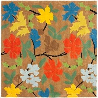 Safavieh Handmade Soho Tetje Floral N.Z. Wool Rug (6' x 6' Square - Brown/Multi)