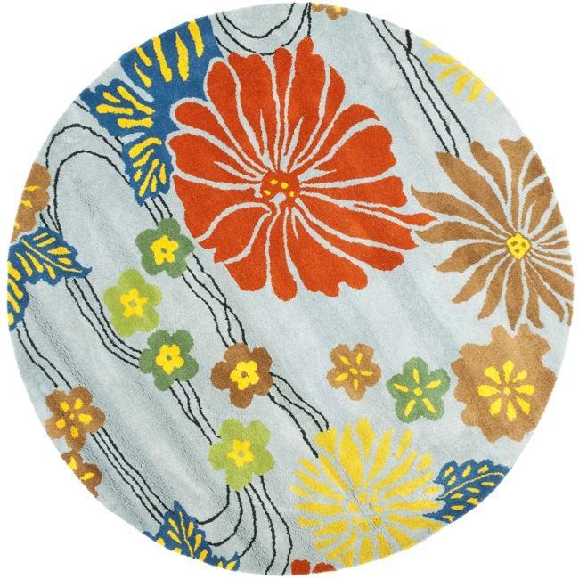 Safavieh Handmade Soho Blue New Zealand Wool Rug (6' Round)