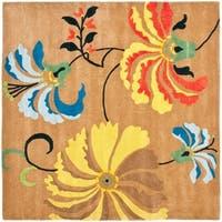 Safavieh Handmade Soho Brown/Green New Zealand Wool Rug - 6' x 6' Square