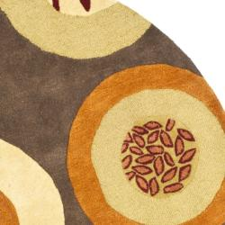 Safavieh Handmade Soho Brown/Multi New Zealand Wool Floral Rug (6' Round) - Thumbnail 1