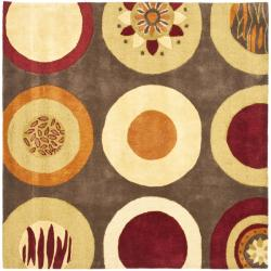 Safavieh Handmade Soho Brown/ Multi New Zealand Wool Rug (6' Square) - 6' Square - Thumbnail 0