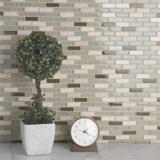 SomerTile 10.75x11.75-inch Reflections Subway York Stone and Glass Mosaic Wall Tile (10 tiles/8.8 sqft.)