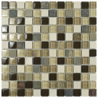 Somertile Reflections Square 1-inch Nassau Stone and Glass Mosaic Tiles (Pack of 10)