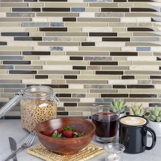 SomerTile 11.625x11.75-inch Reflections Piano Nassau Stone and Glass Mosaic Wall Tile (5 tiles/4.75 sqft.)