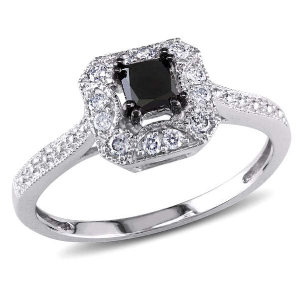10k White Gold 3/5ct TDW Black and White Princess-Cut Diamond Square Halo Engagement Ring by Miadora