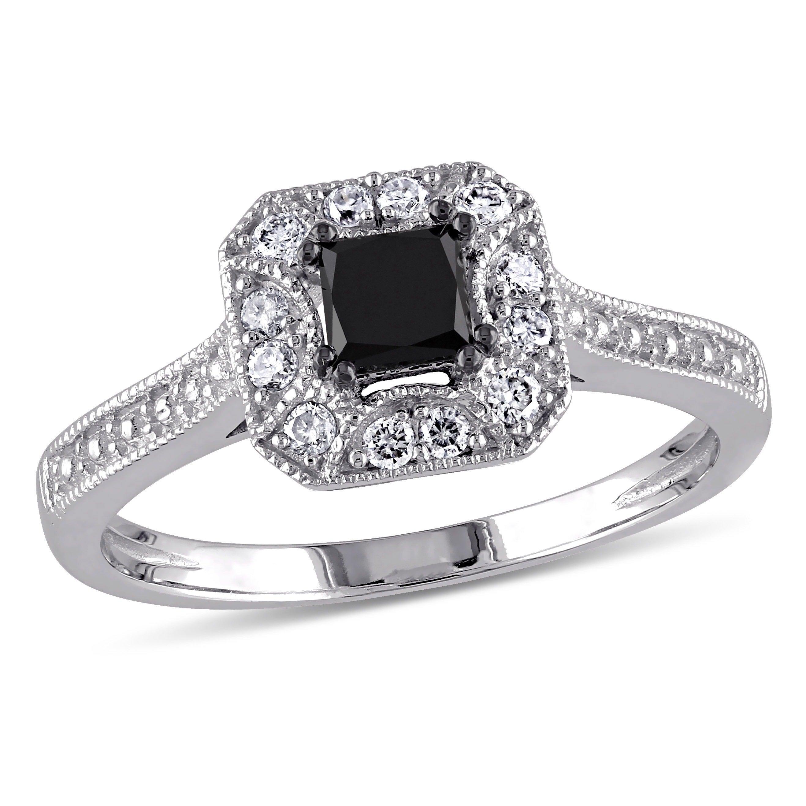 Shop Miadora 10k White Gold 3 5ct Tdw Black And White Princess Cut Diamond Square Halo Engagement Ring Overstock 5788219
