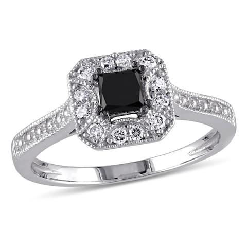 Miadora 10k White Gold 3/5ct TDW Black and White Princess-Cut Diamond Square Halo Engagement Ring