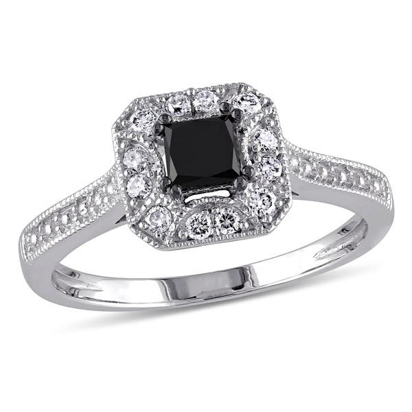 Shop Miadora 10k White Gold 3 5ct Tdw Black And White Princess Cut Diamond Square Halo Engagement Ring Overstock 5788219