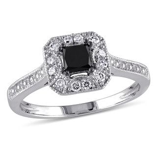 Miadora 10k White Gold 3/5ct TDW Black and White Princess-Cut Diamond Square Halo Engagement Ring