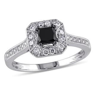 Miadora 10k White Gold 3/5ct TDW Black and White Princess-Cut Diamond Square Halo Engagement Ring|https://ak1.ostkcdn.com/images/products/5788219/P13511150.jpg?impolicy=medium