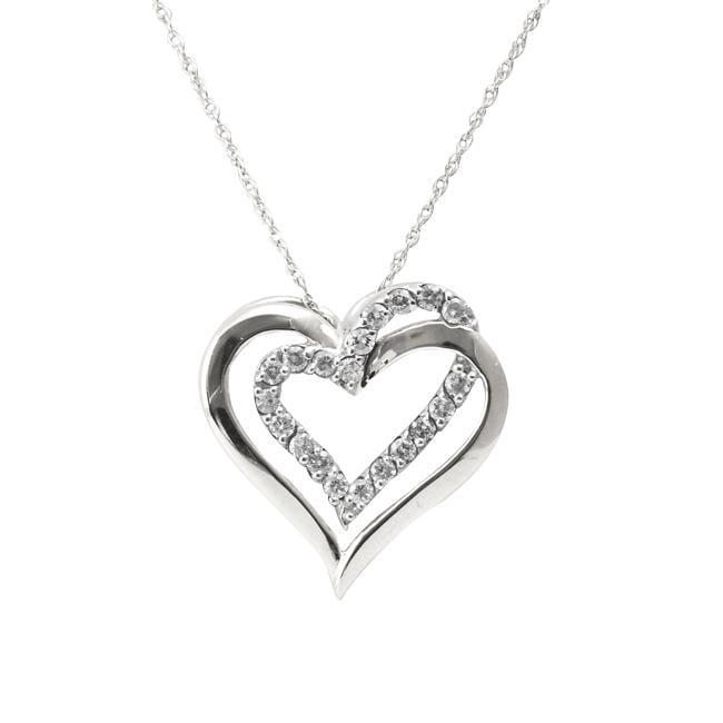 10k White Gold 1/4ct TDW Diamond Double Heart Necklace (I-J, I2-I3)