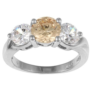 High-Polish White-Gold-Overlay Cubic Zirconia Three-Stone Ring