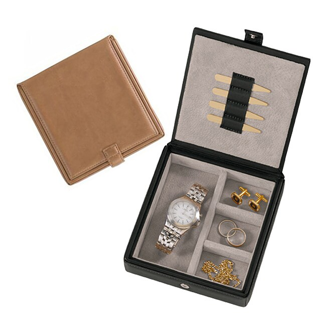 Bonded Leather Watch and Cuff Link Box