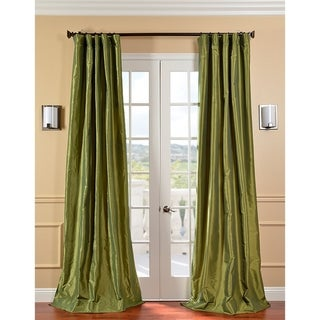 Exclusive Fabrics Fern Green Solid Faux Silk Taffeta Curtain Panel