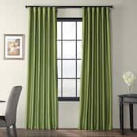 Exclusive Fabrics Fern Green Solid Faux Silk Taffeta Curtain Panel