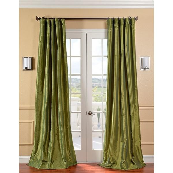 Exclusive Fabrics Fern Green Faux Silk Taffeta 108-inch Curtain Panel