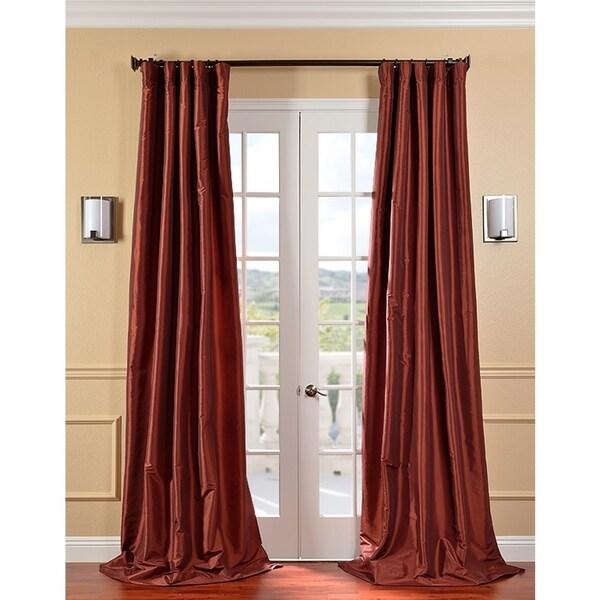 Exclusive Fabrics Paprika Faux Silk Taffeta 96-inch Curtain Panel
