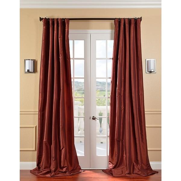 Exclusive Fabrics Paprika Faux Silk Taffeta Curtain Panel