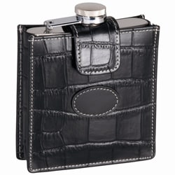 Crocodile-skin Styled Top Grain Leather Croco Flask With Attached Cap