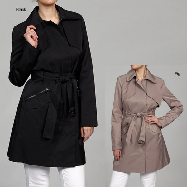 Kenneth Cole Women's Belted Button Front Coat