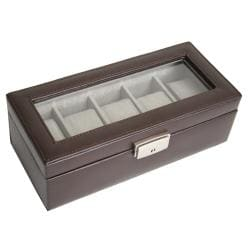 Genuine Leather 5-slot Watchbox - Thumbnail 1
