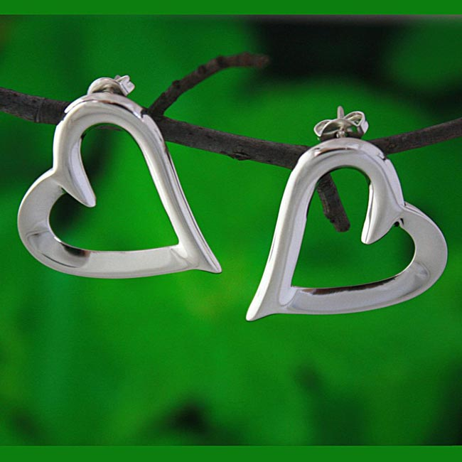 Sterling Silver Open Heart Swirls Earrings (Mexico)