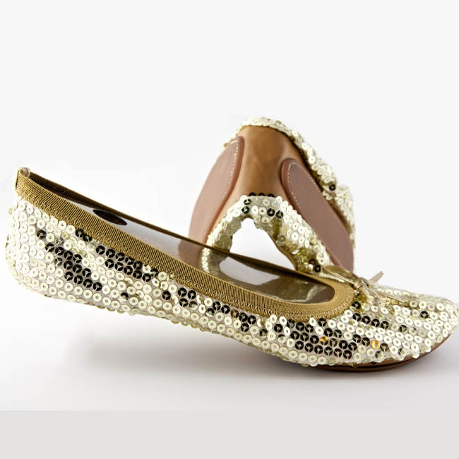 Fit In Clouds Women's Gold Sequin Foldable Flats
