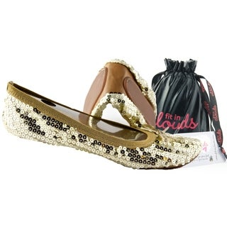 Shop Fit In Clouds Women S Gold Sequin Foldable Flats