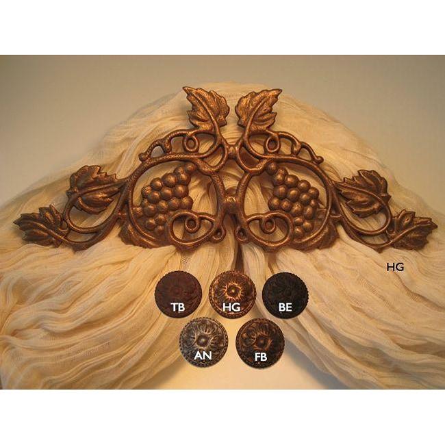 Vineyard Scroll 14-inch Drapery Crown (Brown - Brown Fini...