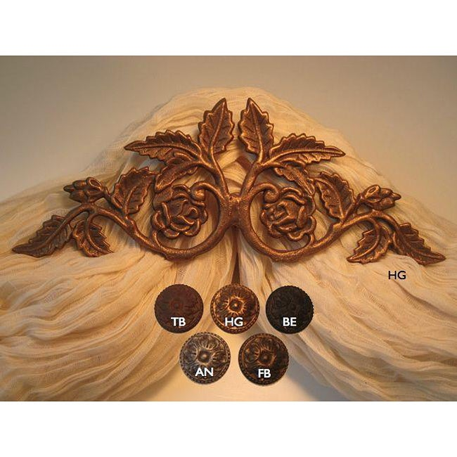 Flower Garden Scroll 14-inch Drapery Crown (Gold - Nickel...