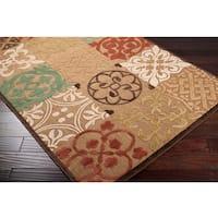 Woven Equinox Natural Indoor/Outdoor Moroccan Tile Area Rug (5' x 7'6) - 5' x 7'6