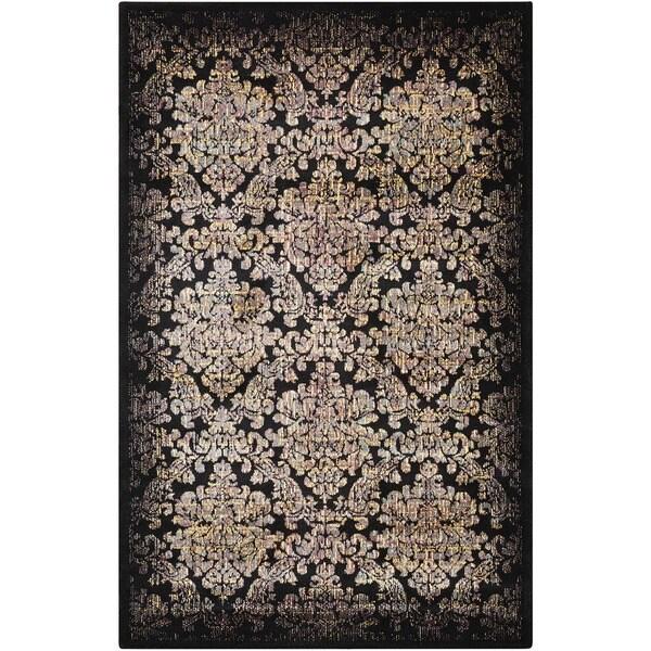 Nourison Classic Chambord Black Floral Rug - 2'3 x 3'9