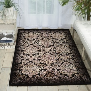 Nourison Chambord Black Floral Rug (5'6 x 7'5)