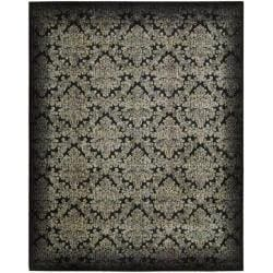 "Nourison Chambord Black/Yellow Floral Rug (7'6"" x 9'6"")"