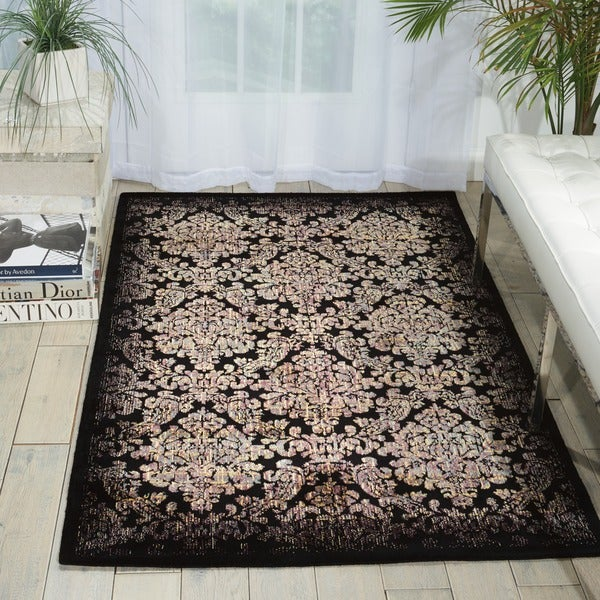 "Nourison Chambord Black/Yellow Floral Rug (7'6"" x 9'6"")"