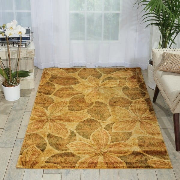 Nourison Chambord Gold Floral Rug (5'6 x 7'5)
