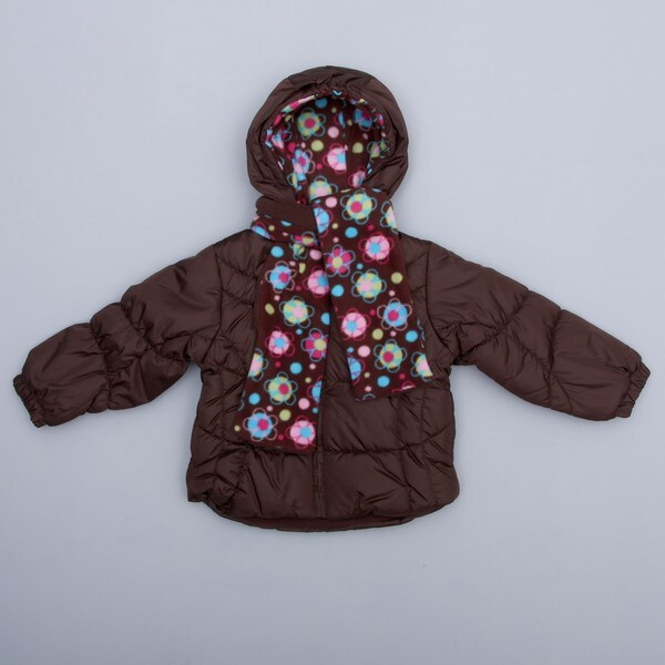 London Fog Toddler Girl's Brown Bubble Jacket and Scarf Set FINAL SALE