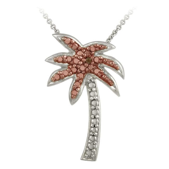 DB Designs Rose Gold over Silver Champagne Diamond Accent Palm Tree Necklace