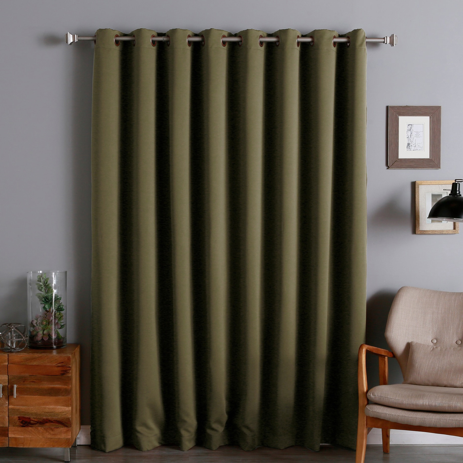 Aurora Home Extra Wide Thermal 96 Inch Blackout Curtain Olive