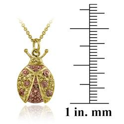 DB Designs 18k and Rose Gold over Silver Champagne Diamond Lady Bug Necklace - Thumbnail 2