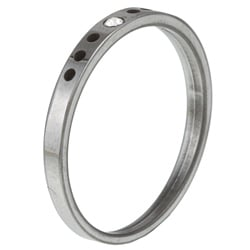 Women's Tungsten Crystal Notched Band (1.9 mm) - Thumbnail 1
