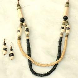 Handmade Puca and Shaped Hardwoods 2-layer Jewelry Set (Philippines)