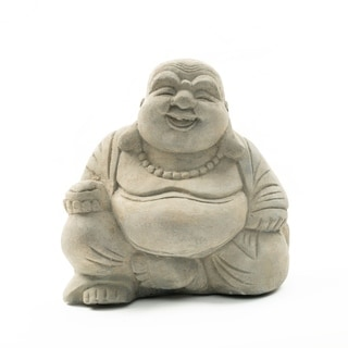 Handmade Volcanic Ash Happy Buddha Statue Stone Washed (Indonesia)