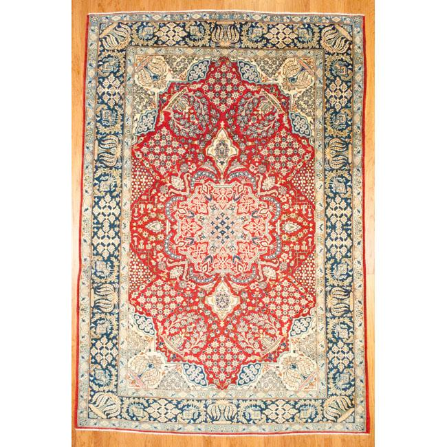Hand Knotted Persian Isfahan Wool Area Rug: Shop Herat Oriental Persian Hand-knotted Isfahan Wool Rug