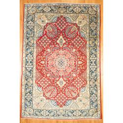 Herat Oriental Persian Hand-knotted Isfahan Red/ Navy Wool Rug (8'4 x 12'5)
