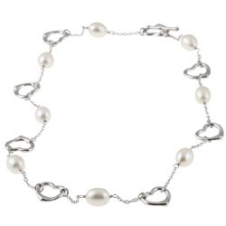 DaVonna Silver White FW Pearl and Heart Link Necklace (7-8 mm)